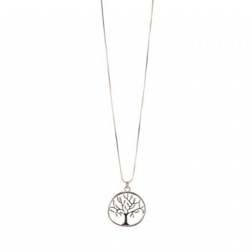 Bisoux Jewellery Long Tree of Life Necklace with Diamantes in Rose Gold